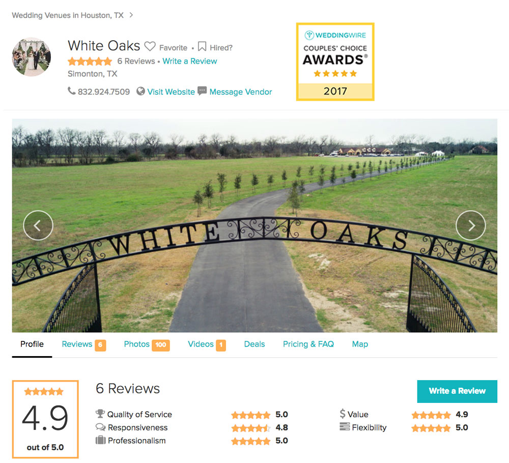 White Oaks on the Bayou - Wedding Wire